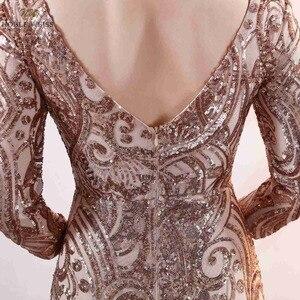 Image 5 - נובל וייס חדש הגעה שמלה לנשף נצנצים עמוק V צוואר סקסי ירך גבוהה חרכי Slim פשוט מחוך לוקסוס בת ים שמלה