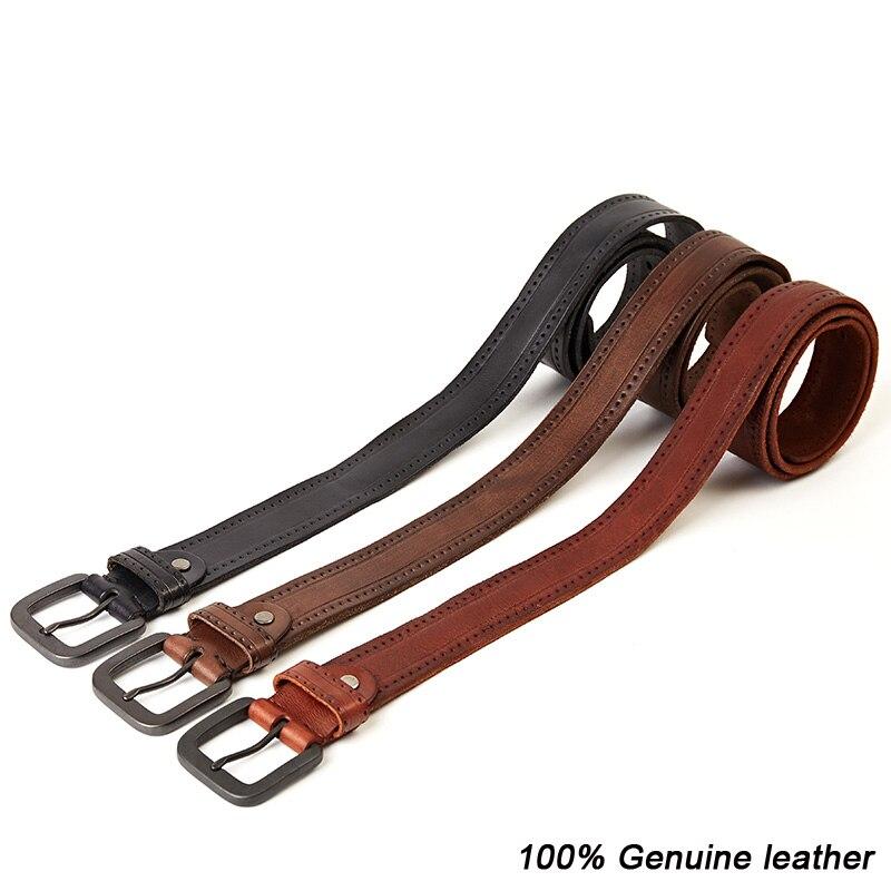 Image 5 - MEDYLA Fashion Vintage Original Cowhide Mens Genuine Leather Belt Alloy Pin Buckle Jeans Black Belt For Men MD535 DropshipMens Belts   -