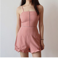 Women Playsuits 2018 New Summer Beach Fashion Sleeveless Ruffles Hollow Out Lace Up Boho Holiday Short