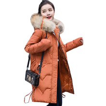 Plus Size 5XL High Quality Overcoat 2018 New Fashion Women Large Fur Collar Hooded Coat Warm Parkas Mid Long Winter Jacket D354