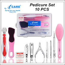 ACARE 10 PCS SET Pedicure Kit Foot Care Tools Cuticle Remover Feet Callus Rasp Nail Clippers Pumice Stone Foot File