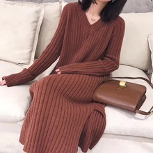 NiceMix 2019 Autumn Winter Dress Women Plus Size Loose Long Pullover Sweater New Female Solid Thicken Knit Dress Bodycon Knit bodycon two tone knit slip dress