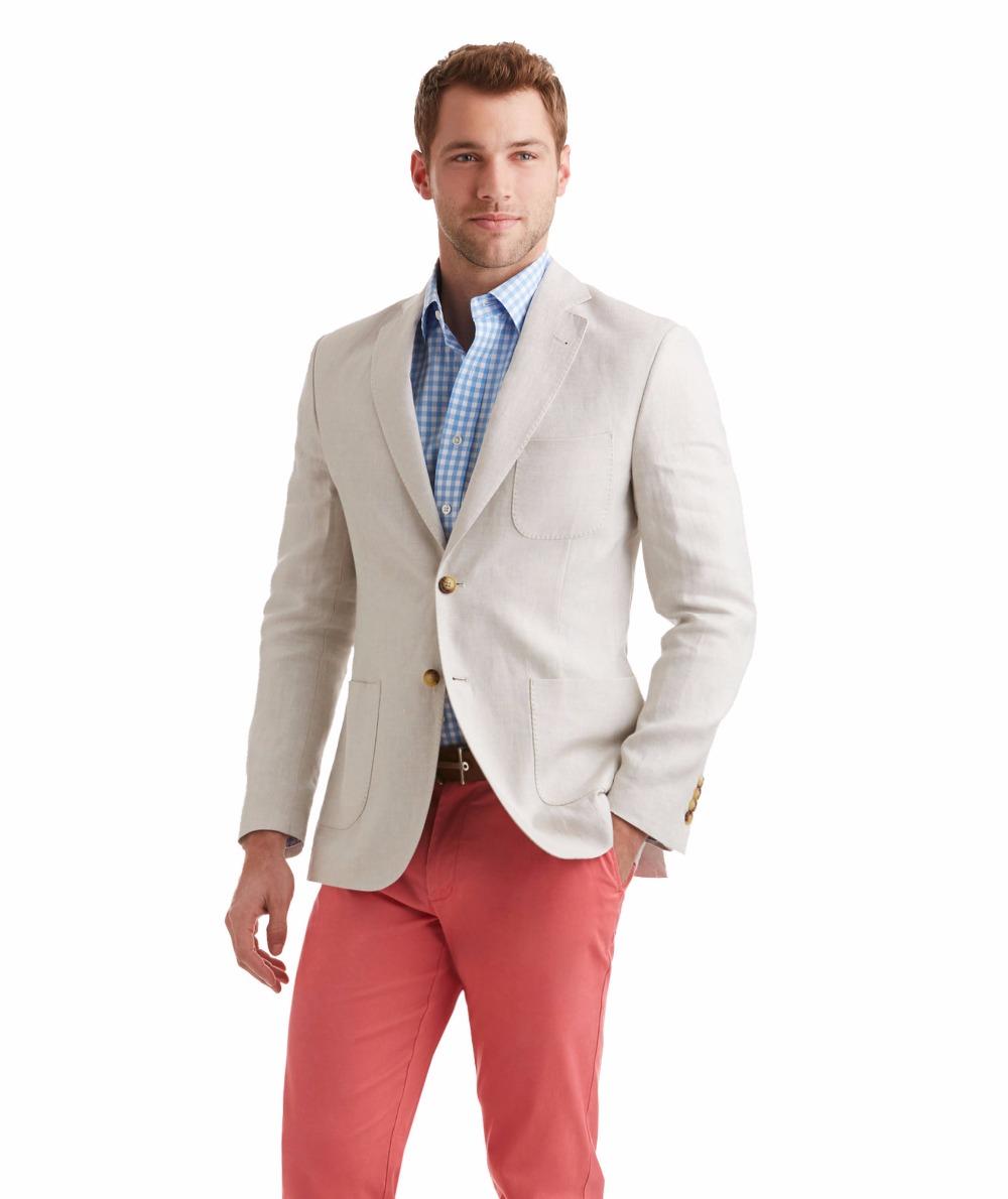 2018 verano marfil blanco de lino de corte Slim traje de boda para hombres bc7de897d26