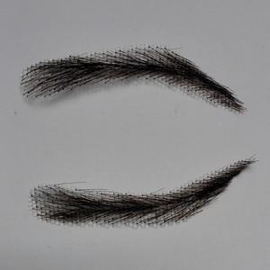 Image 4 - hand made human hair man false eyebrow black color hand knot fake eyebrow invisible swiss lace hand eyebrows