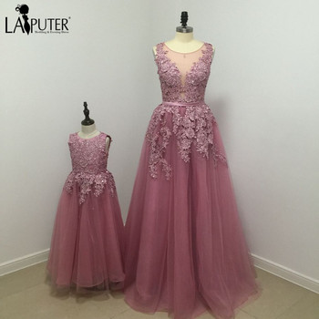 New Real A-line Floor Length Long Evening Dress Beaded Lace Appliques Tulle Prom Gowns Party Dresses for Mother and Daughter