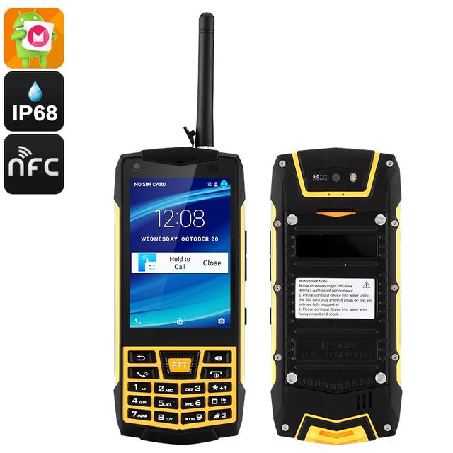 2016 original Teléfono Resistente Teléfono Android 6.0 Smartphone IP68 A Prueba de agua a prueba de golpes MT6580 N2 Quad Core 3G Teclado Ruso GPS