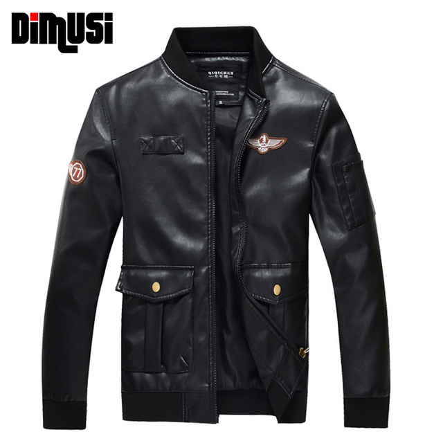 DIMUSI PU Leather Jacket Men Air force one Bomber Jackets Male Motorcycle punk Jackets Coat Mens MA1 Bomber pilot Clothing,YA550