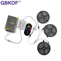 10M 15M 20M RGB Led Strips 5050 Non Waterproof+RF Touch Dimmable Remote Controller+AC 110/220V DC 12V Led Driver For home lamps