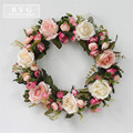 Silk Wearth Rose Artificial Flowers Wreaths Door Perfect Quality Artificial Garland For Wedding decoration Home Party Decor
