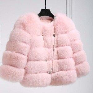 Image 3 - Abrigos de visón S 3XL para Mujer, chaqueta de piel sintética rosa a la moda, abrigo cálido y grueso elegante, para invierno, 2020