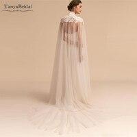 Long Wedding Cape Lace Appliques Unique Tulle Bridal Shawl Wrap High Neck Elegant Bplero DJ114