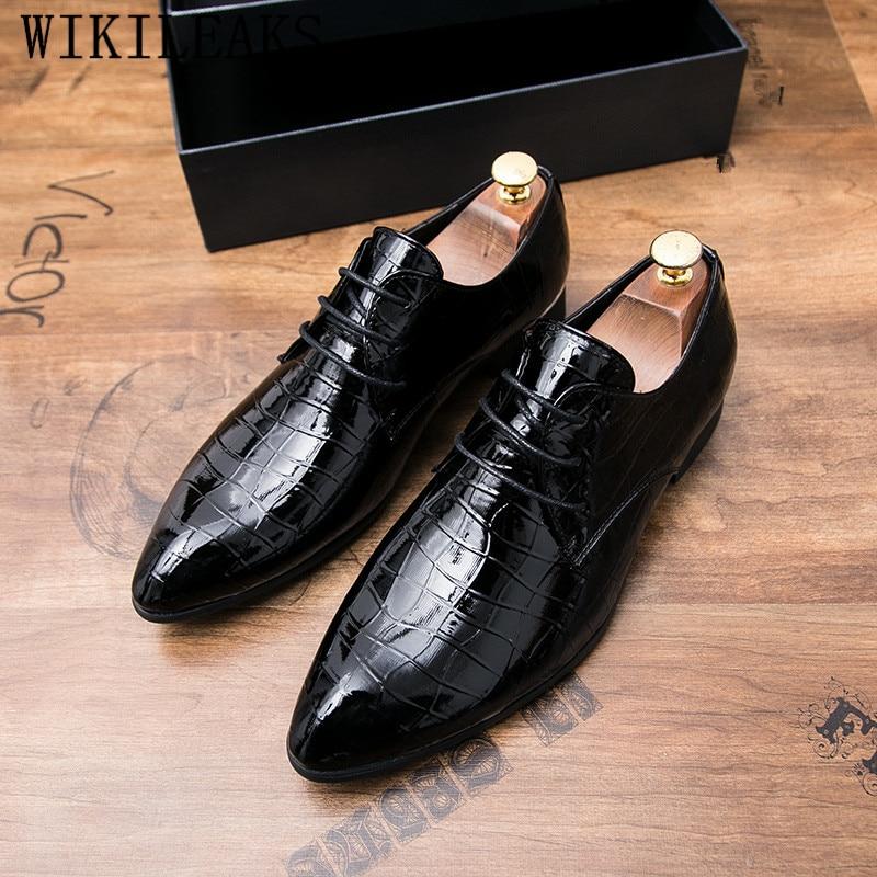 34a73cc5 Zapatos de vestir elegantes de marca de lujo para hombre zapatos oxford  clásicos para hombre zapatos de cocodrilo zapatos de hombre de vestir formal