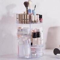 360Degree Rotating Makeup Organizer Box Acrylic Makeup Organizer Lipstick Desktop Cosmetics Storage Box Plastic Storage Boxes