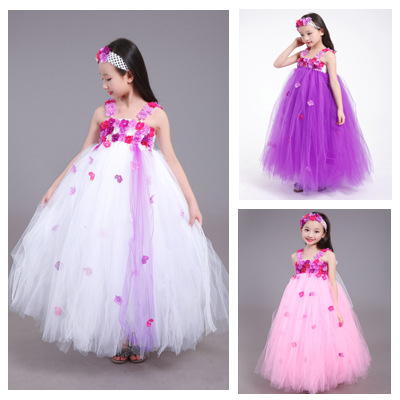 cb5832324f14 3 Color Beautiful Girl Flower Tutu Dress Children Clothing Pink Purple  White Baby Girl Tutu Dress for Birthday Party