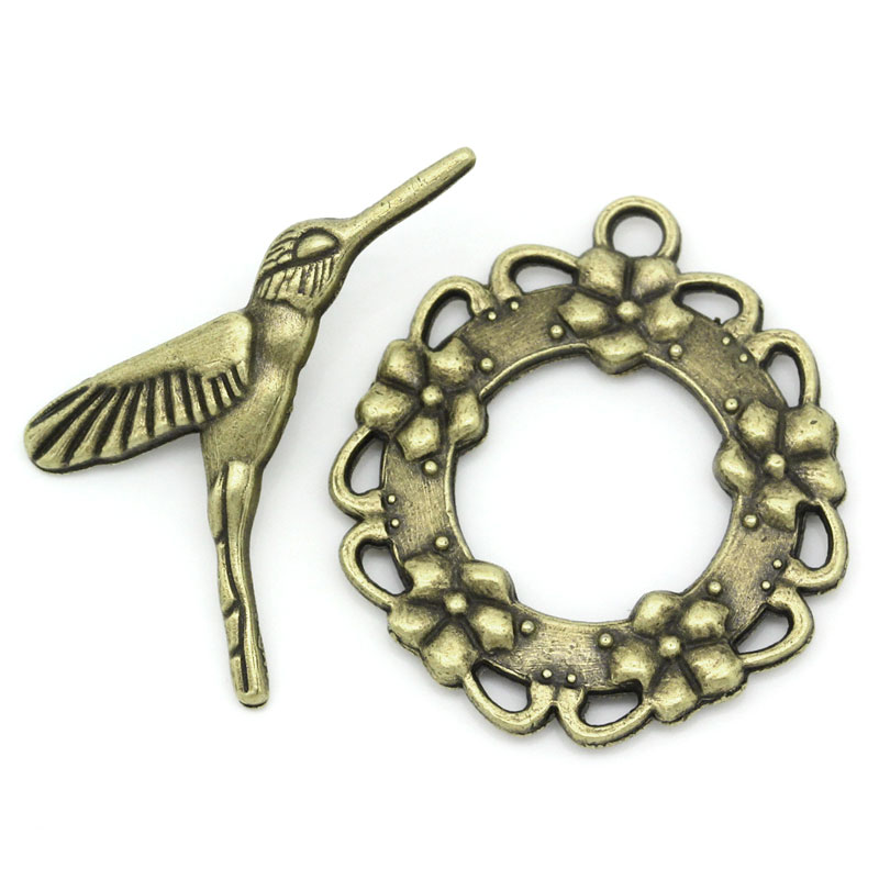 DoreenBeads Zinc metal alloy Toggle Clasps Bird Antique Bronze Flower28mm x26mm(1 1/8