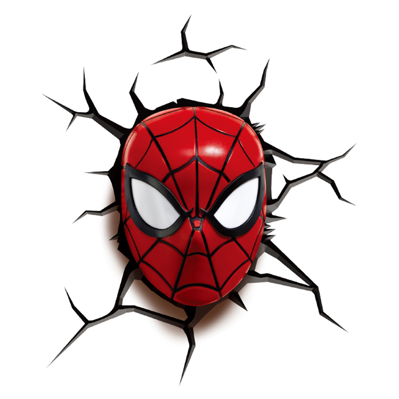 Marvel Avengers Mini Spider Man Head Room Decor 3D FX Wall LED Night Light New