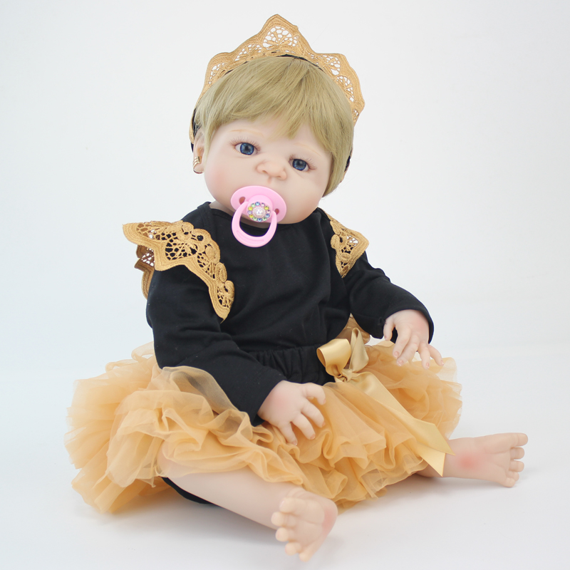 55cm Full Silicone Body Baby-Reborn Blonde Doll Toys Newborn Princess Toddler Babies Doll Girls Bonecas Brinquedos Bathe Toy 55cm full silicone reborn baby doll toy real touch newborn princess toddler babies alive bebe doll with pacifier girl bonecas