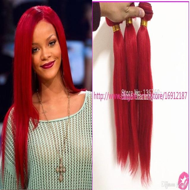 Rihanna Red Virgin Human Hair Extension 3 Bundles 12 24inch Red