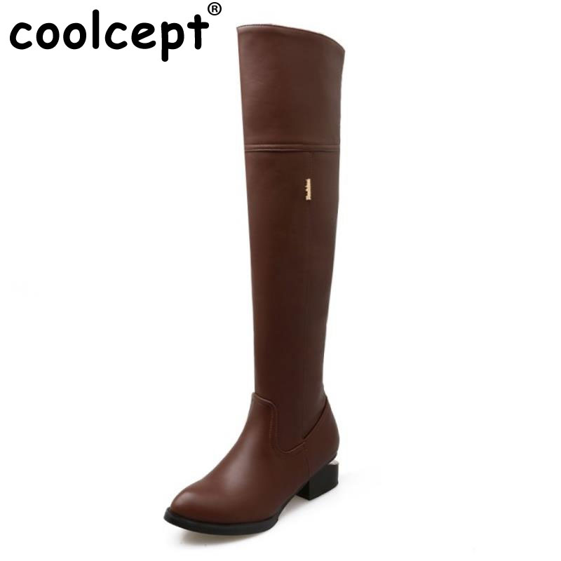 New Fashion Female Pointed Toe Over Knee Long Boots Women Square Heel Shoes Woman Brand Autumn Winter Knight Boot Size 34-46 bijou tresor bijou tresor у25л200153