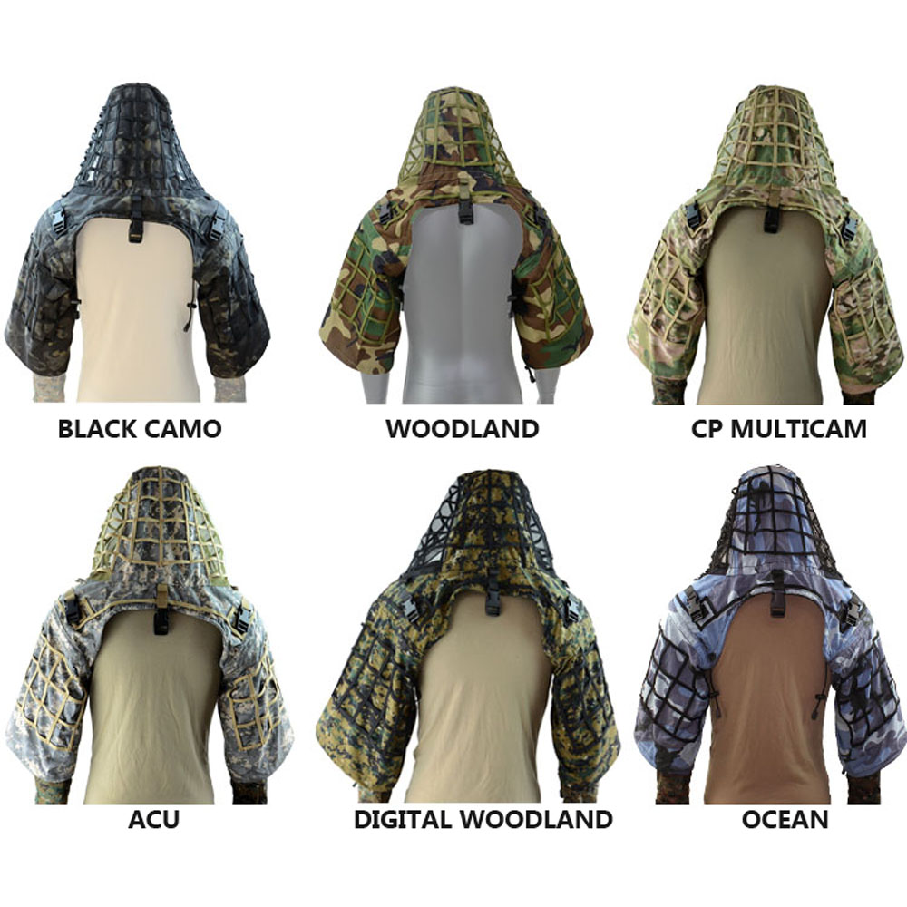 TTGTACTICAL Sniper Ghillie capuche Camouflage Ghillie costume Base tactique Sniper manteau Viper hottes, chasse Ghillie Base