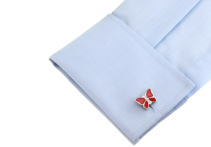 New Round Blue Lacquer White steel plating Mens shirt Weeding Retail @ WholeSale cuff links 160107