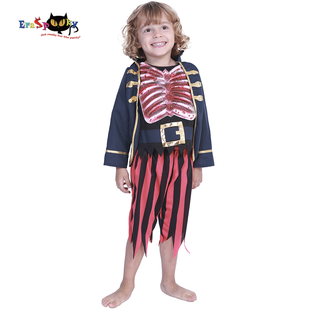 Eraspooky Carnival Party Toddler Costumes Zombie Skull Pirate Captain Jack Halloween Costume For Kids Scary Baby Boy Fancy Dress