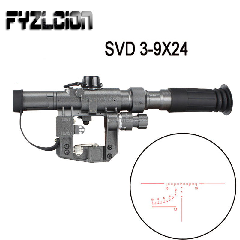 Dragunov SVD POS 3-9X24 Rouge Illumination Sniper Fusil de Tir Portée Fit AK 47 Lunette De Visée Pour Pistolet À Air Comprimé Carabine À Air Comprimé Portée Montage