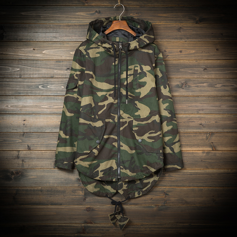 YuWaiJiaRen Camouflage Mens Long Jackets Military Trench Coat Men Loose Hooded Windbreaker Mens Clothing Casaco Masculino