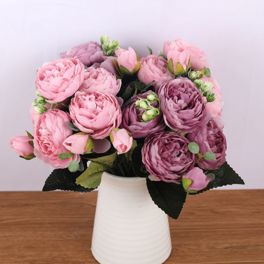 30cm Rose Pink Silk Bouquet Peony Artificial Flowers 5 Big Heads 4 Small Bud Bride Wedding Home Decoration Fake Flowers Faux(China)