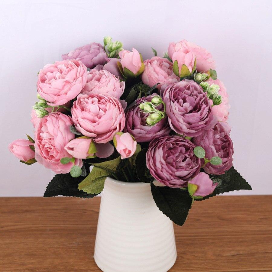 30cm Rose Rose soie Bouquet pivoine fleurs artificielles 5 grosses têtes 4 petit bourgeon mariée mariage décoration de la maison Faux fleurs Faux