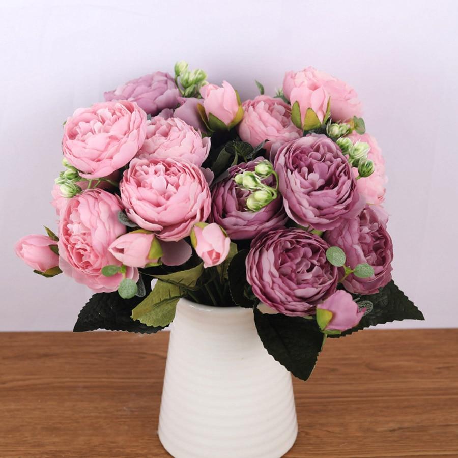30cm Rose Roze Zijde Boeket Pioen Kunstbloemen 5 Grote Hoofden 4 Kleine Bud Bruid Bruiloft Woondecoratie Nep bloemen Faux