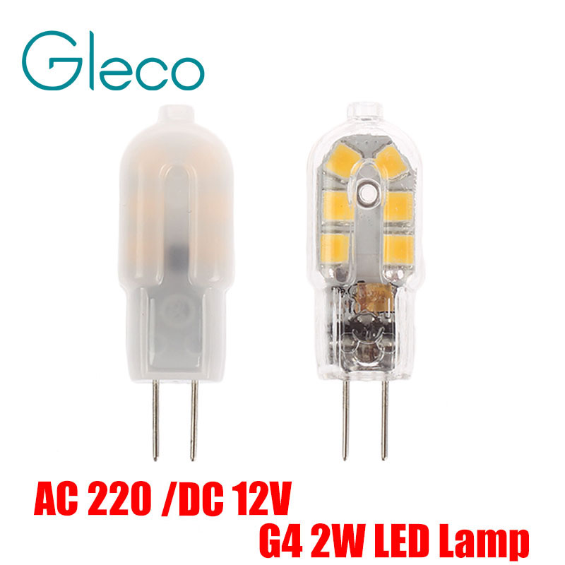 AC220V / DC12V Mini G4 LED Lamp 2W SMD 2835 Lampada LED G4 Bulb Milky/Transparent 360 Beam Angle Lights Replace Halogen G4 5x g4 ac dc 12v led bulb lamp smd 1505 3014 2835 2w 3w 4w replace halogen lamp light 360 beam angle luz lampada led