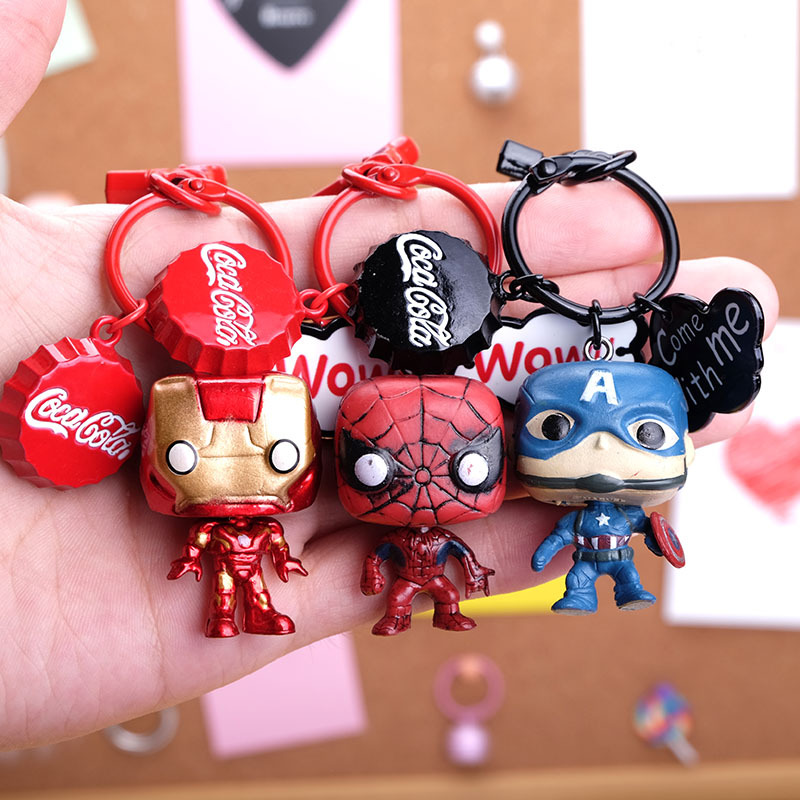 Marvel Movie Captain America Key chain iron Man Batman spider-mankeyring Cartoon Model keychains gift for vhildren image