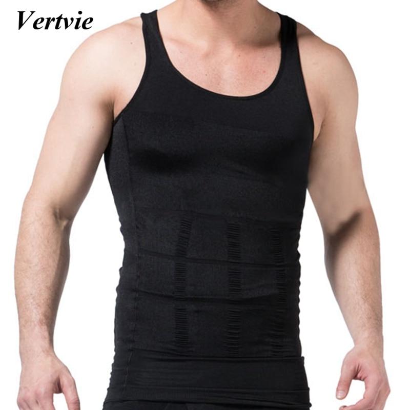 4aac90f05860 Vertvie Body Shaper Shirt Waist Cincher Corset 2018 Men Running Vest