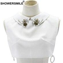 392a6d61658d SHOWERSMILE blusa blanca Collar de perlas de las mujeres solapa camisa  falsas Collar gargantilla Collar Accesorios