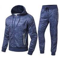 2017 Fashion Mens Sports Suits Zipper Fleece Hoodie Tracksuit Set Hiphop Hoodies Streetwear Uniform Plus Size