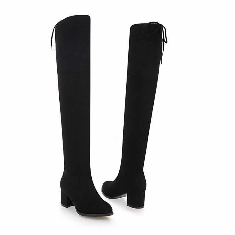 ASUMER büyük boy 34-43 diz üzerinde çizmeler yuvarlak ayak kalın yüksek topuklu bayanlar sonbahar kış çizmeler akın uzun çizmeler kadın