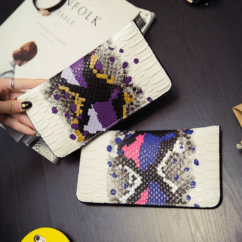Women Wallets Long Snake Split Leather Wallet Female Serpentine Zipper Clutch Coin Purse Card Holder Ladies Fashion Brand Wallet brand genuine leather wallet female purse long coin purse money bag casual card holder women wallets fashion purse wallet women