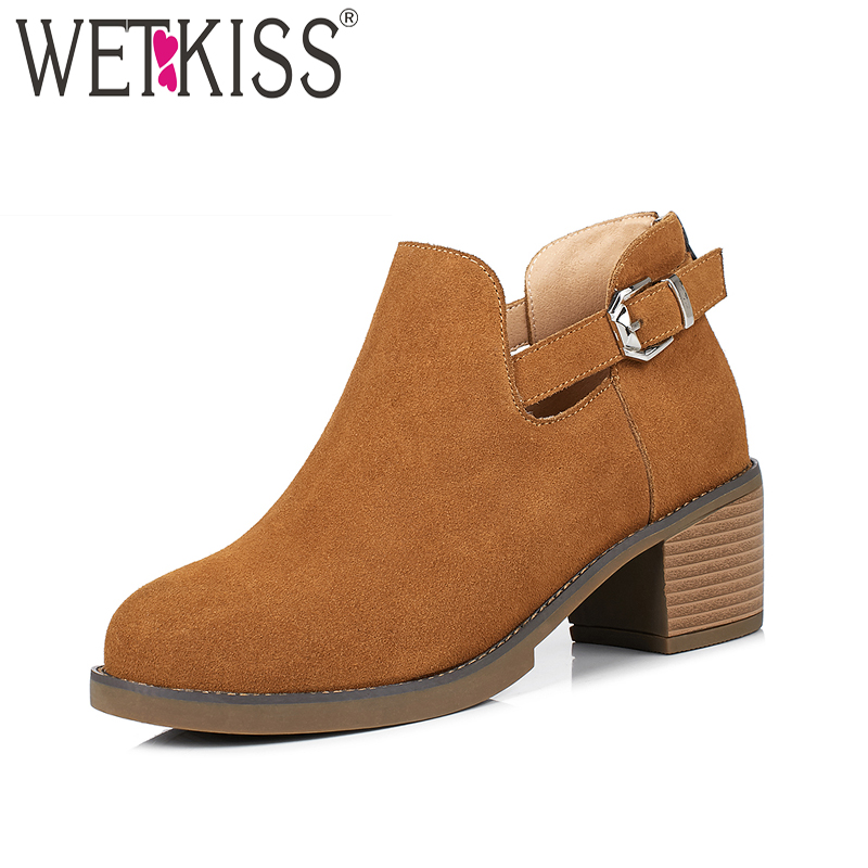 WETKISS High Heels Ankle Women Boots 2018 New Fashion Spring Zipper Women Shoes Thick Square Heel Cow Suede Round Toe Footwear new arrival women ankle boots square heel shoes women fashion footwear comfortable new designers zipper western ladies zapatos