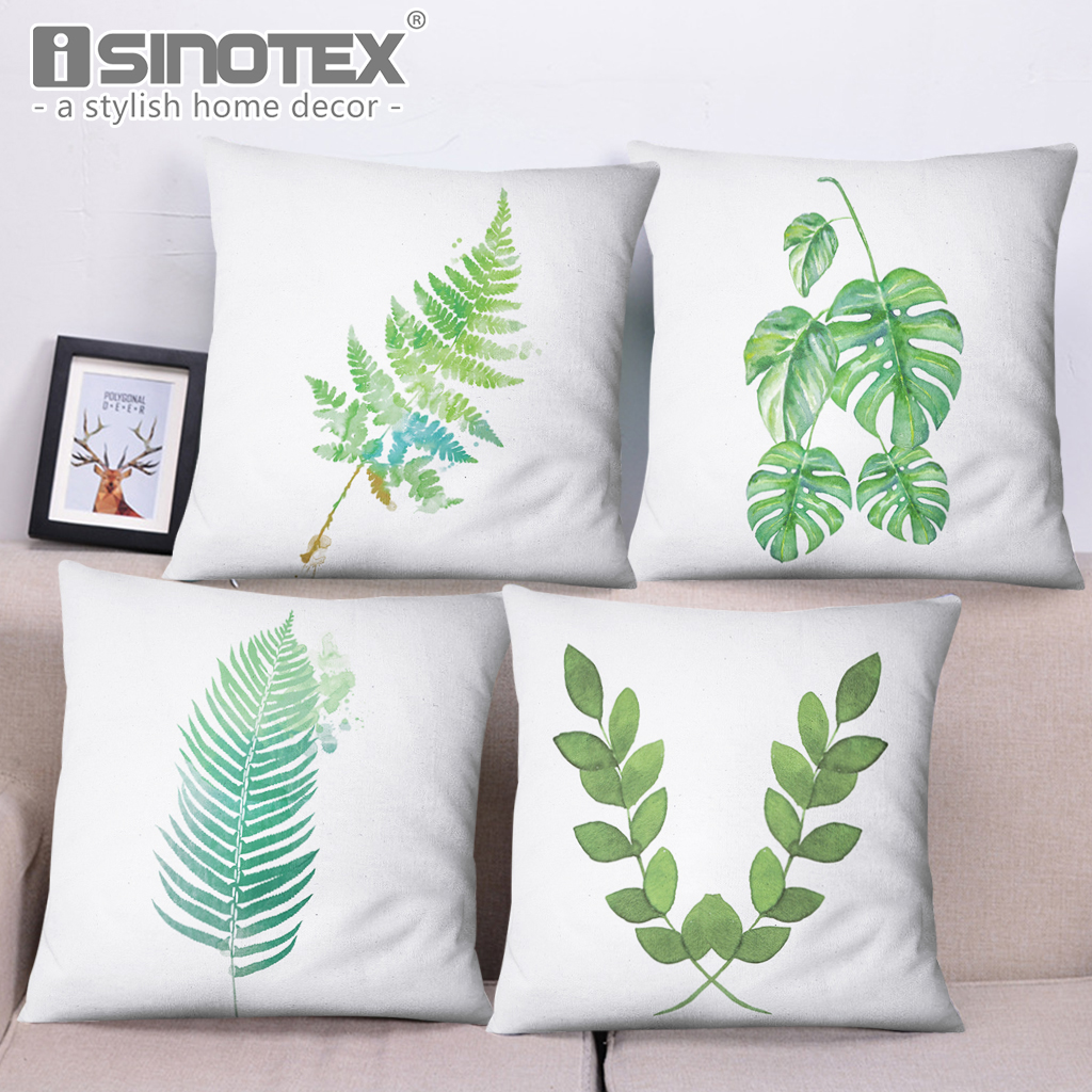 Tropical Green Leaves Cushion Cover 45*45cm Pillow Cases High Quality Cotton Linen Home Sofa Pillows Cover Decoration