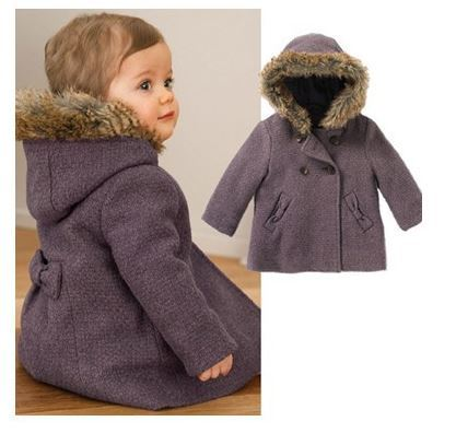 Hot sell baby girl purple coat kid outerwear jacket warm children thickening clothing wholesale and retail YCZ020