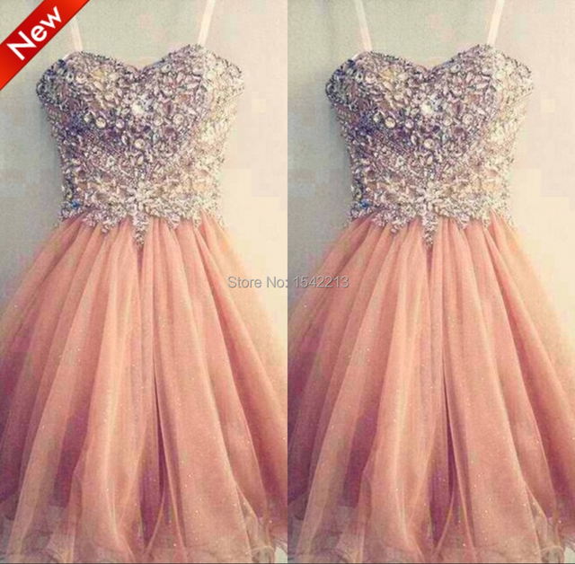 632a4236a5c6 Sparkle Shiny Beaded Fashion Blush Pink Cocktail Dress Cheap Prom Party  Gowns Vestido De Fiesta Longo