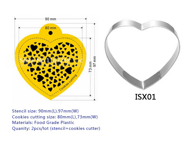 4pcs / Lot (3pc Stencil + 1pcs Cookies Cutter) Ürək - Mətbəx, yemək otağı və barı - Fotoqrafiya 5