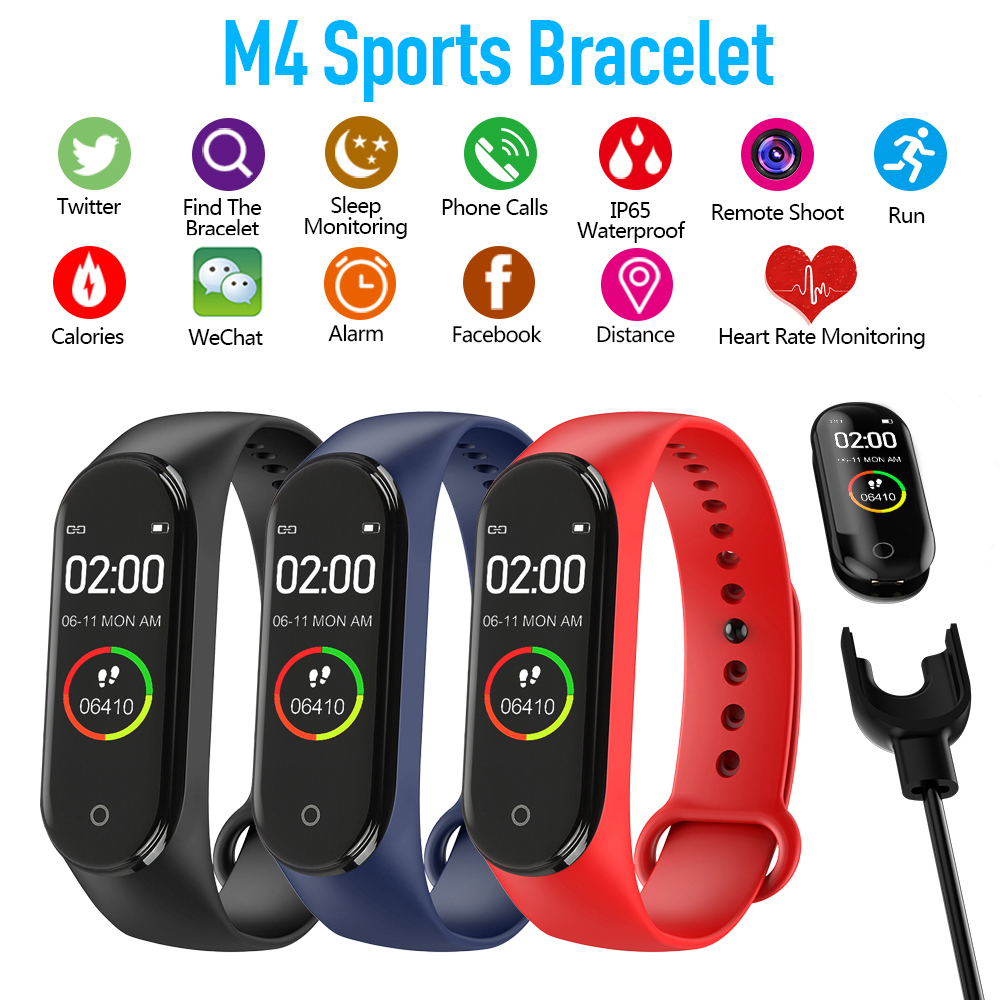 Pedometer Watch Bracelet Walking-Tracker Smart-Band Fitness Sports Running M4 Color-Screen