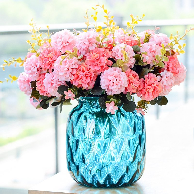 1Branches Silk Artificial Flowers Fake Flowers Chrysanthemum Balls Bouquet for Home Garden Office Dining Table Wedding Decor