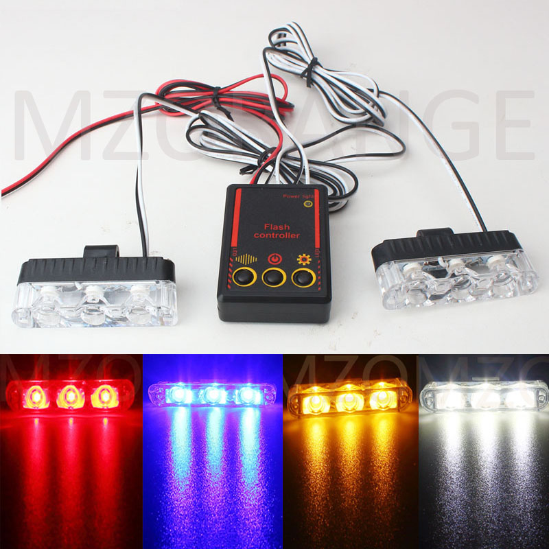 2x3 led car-styling Ambulance Police light Car Truck Emergency lamp Flashing Firemen Lights DC 12V Auto Strobe Warning Day light dc12v 24v 5730smd 72 led car truck strobe flashing emergency light beacon rescue vehicle ambulance police warning lights lamp