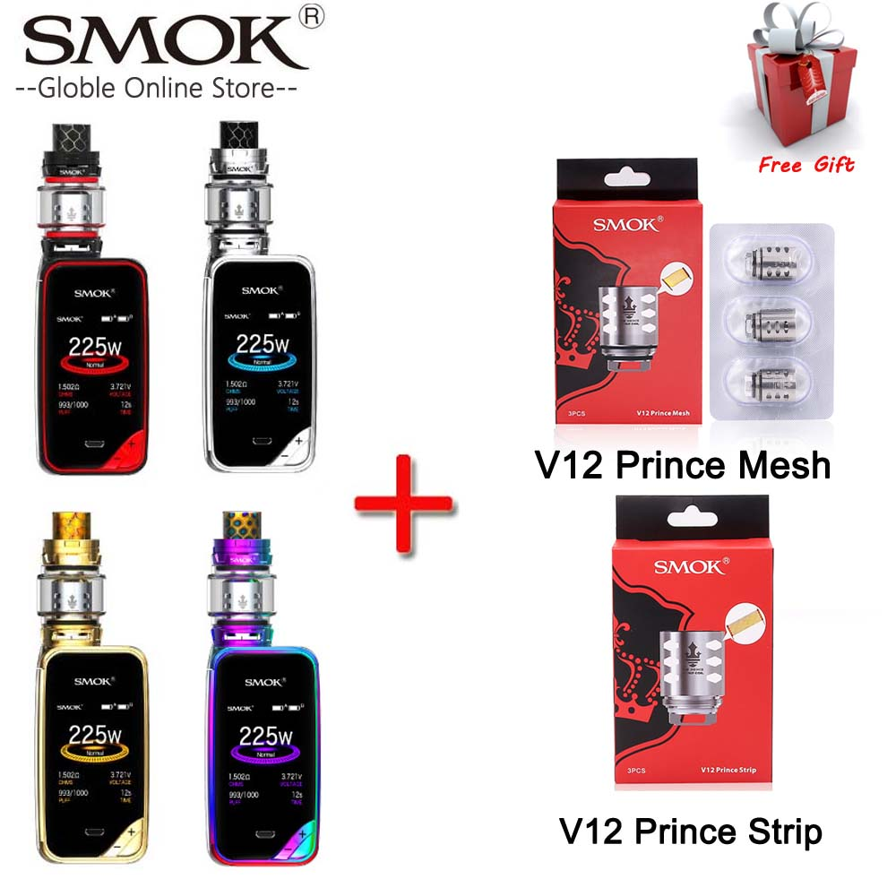 Authentique SMOK X-PRIV Kit avec 8 ml TFV12 Prince Réservoir Vaporisateur 225 w X PRIV Mod HD Écran Électronique Cigarette SMOK VAPORISATEUR Kit