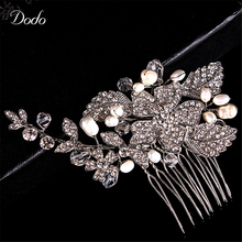 Diseño de la hoja Sintética Imitado Perla Peines Nupciales Del Pelo Decoración de La Boda de Baile Flor de Cristal Austriaco Joyas de Diamantes CZ HA3