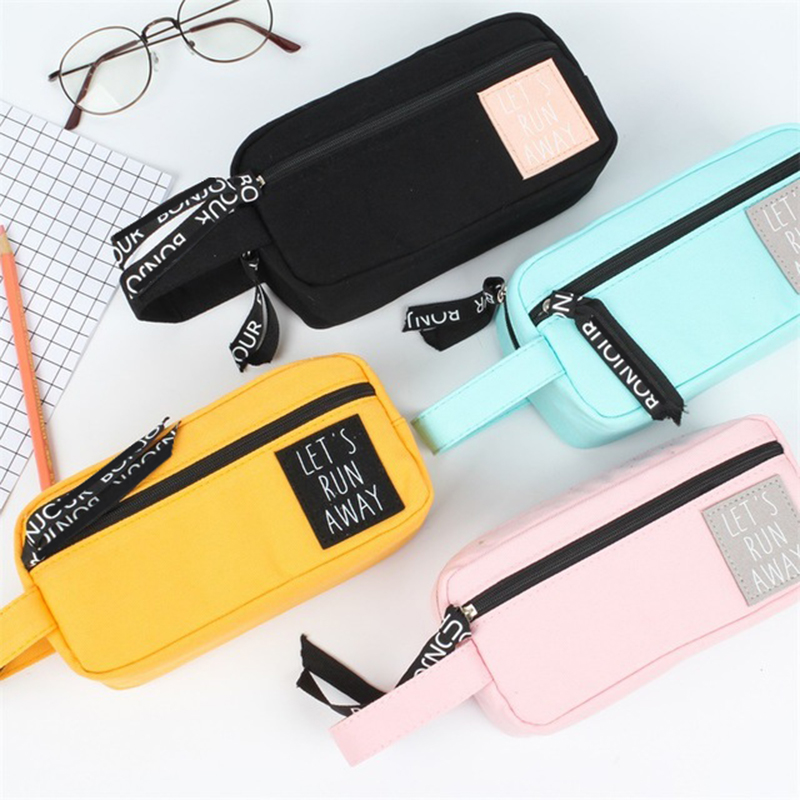 Creative Zipper Pencil Case Canvas Large Pen Box Kawaii Pencil Bag For Student Girl Gift Cute School Stationery Supplies etui