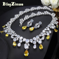 BlingZircons Luxurious African Cubic Zirconia Beads Jewelry Set Nigerian Wedding Yellow Bridal Jewellery Sets For Women